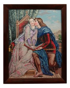 Lot 683 - A large Victorian rosewood framed woolwork tapestry depicting a religious scene with figures,