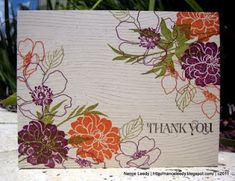 One layer card, Old Olive, Pumpkin Pie and Rich Razzleberry, with Fabulous Florets stamp set.