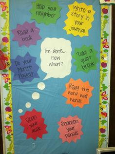 What to do when you finish early bulletin board