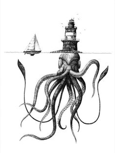 Lighthouse kraken by Scott Bluedorn Squid Drawing, Ant Drawing, Realistic Eye Drawing, Drawing Sketches, Drawing Tips, Drawing Tutorials, Figure Drawing, Kraken, Squid Tattoo