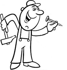 Worker with wrench coloring page. Black and white cartoon illustration of man worker or workman screw down a bolt with wrench for children to coloring book. Black And White Cartoon, Coloring Pages, Vector Free, Illustration, Nail, Fictional Characters, Firefighter, Drawings, Quote Coloring Pages