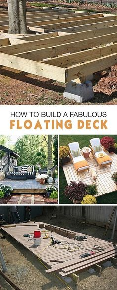 Garden Design Videos How to Build a Fabulous Floating Deck Ideas tips and tutorials!Garden Design Videos How to Build a Fabulous Floating Deck Ideas tips and tutorials! Backyard Projects, Outdoor Projects, Backyard Patio, Backyard Landscaping, Backyard Ideas, Landscaping Ideas, Garden Decking Ideas, Backyard Camping, Diy Projects