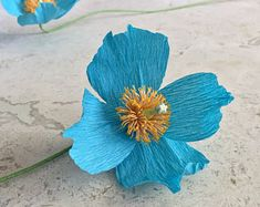 Crepe Paper Blue Himalayan Poppy, Single Stem - Wedding Flowers - Home or Office Botanicals - Floral Design - Paper Flowers - Sympathy Gift