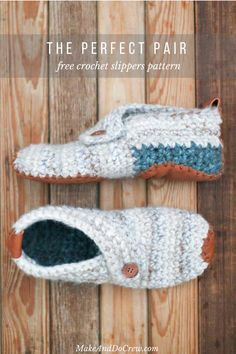This free crochet slippers pattern will satisfy the modern minimalist in you while also making you feel like a gift giving hero. They make the perfect gift for teachers, new moms, a friend who is sick and anyone else you want to wrap up in a little bit of love. Free women's slipper pattern from MakeAndDoCrew.com.