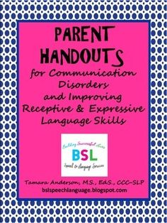 This is a free resource guide that SLPs can give to parents that provides a quick overview of communication disorders. It briefly outlines the difference between speech sound disorders and language disorders.I typically review and distribute these handouts at parent teacher conferences for school aged children.
