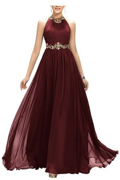 Ellames Beaded Jewel Long Prom Evening Dress with Gold Belt Burgundy US 14