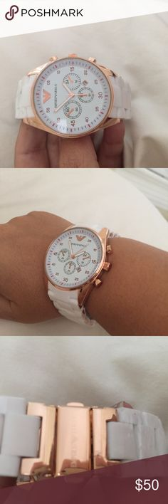 Armani watch White/rose gold , new . Unisex (this is a copy of the real thing )that's why it's priced low. OG are $350 Emporio Armani Accessories Watches