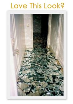 broken mirror floor covered in polyurethane. maybe can break up the pattern with colored tiles/colored glass?