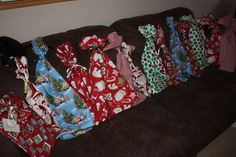 Save the planet...avoid wrapping paper!  Make your own reusable gift bags..these are for Christmas gifts and are sewn using Christmas fabric, but any kind of fabric can be used.