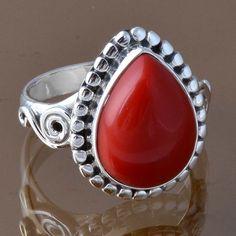 925 STERLING SILVER FANCY CORAL RING 6.45g DJR8296 SZ-8.75 #Handmade #Ring