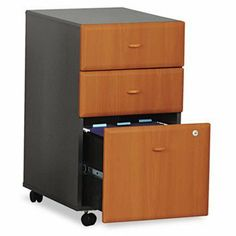 "NEW - Mobile Pedestal (B/B/F) (Assembled) Series A Natural Cherry - WC57453SU by Bush. $300.38. 49. Fully assembled. Freestanding or fit under 30"" high desks. File drawers accommodate letter/legal size hanging files. Full-extension ball bearing slides allow full access to drawers. Four casters for easy mobility. Key lock. Color: Natural Cherry; Slate Gray; Overall Width: 15 5/8""; Overall Depth: 20 3/8""."
