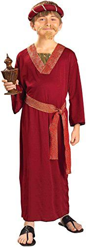 Forum Novelties Biblical Times Burgundy Wiseman Child Cos…100% Polyester, exclusive of trim Biblical Times Wiseman costume includes headpiece, robe, and sash Small fits child size 4-6, approximately 38-42 pounds Available in three designs: blue, purple, and burgundy Ideal for pretend play, stage performances, costume parties, Halloween, and more Made by Forum Novelties, a leader in costumes and novelty products for more than 30 years (affiliate link)