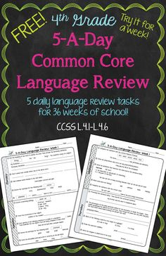 FREE! Daily Common Core Language Review for 4th Grade! Try it out for a full week! Also available for 5th and 6th grades!