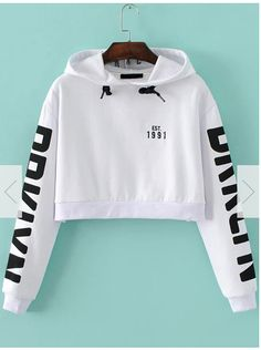 To find out about the White Letter Print Hooded Crop Sweatshirt at SHEIN, part of our latest Sweatshirts ready to shop online today! White Hooded Sweatshirt, Crop Top Hoodie, Cropped Hoodie, Hooded Sweatshirts, White Hoodie, Cotton Hoodies, Long Hoodie, Crop Top Jacket, Pullover Sweaters