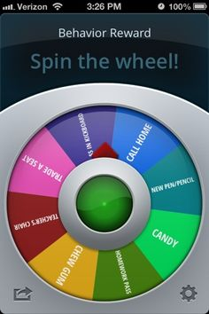 Classroom Management App. Spinner to decide rewards or any other choice scenario you create. Could be used to pick students, groups, centers, etc. $.99