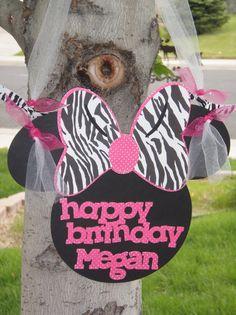 cute Minnie zebra birthday sign