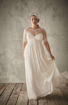 Vintage-inspired lace illusion wedding dress at @DavidsBridal