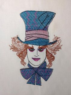 "Instant download Embroidery Digital Design File ""Alice in wonderland Mad Hatter Face"" by NicolaElliott on Etsy Embroidery Files, Machine Embroidery Designs, Embroidery Hoops, Design Files, My Design, Alice Rabbit, Image List, My Images, Alice In Wonderland"