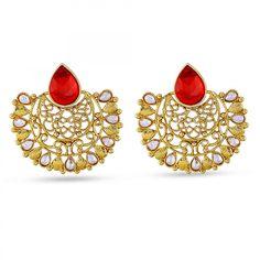 Gold Finishing Chand Bali Designer Dangle Earrings With Red Kundan