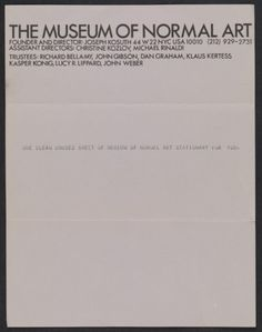 Sheet of Museum of Normal Art stationery sent from Joseph Kosuth to Lucy Lippard and John Chandler