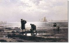 Edward Moran Oyster Gatherers - The Largest Art reproductions Center In Our website. Low Wholesale Prices Great Pricing Quality Hand paintings for saleEdward Moran A4 Poster, Poster Prints, Vintage Artwork, Large Art, American Artists, Art For Sale, Art Reproductions, Oil On Canvas, Fine Art