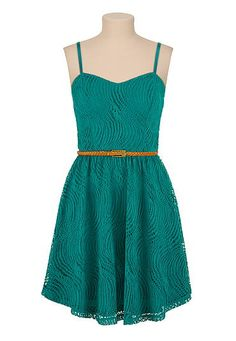 Textured swirl lace dress with belt (original price, $39) available at #Maurices