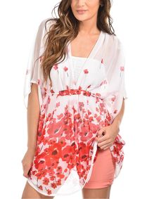 Another great find on #zulily! Palme Pink & White Floral Sheer V-Neck Tunic by Palme #zulilyfinds