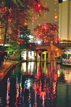 Riverwalk - San Antonio.  Decorated for Christmas.  This is SO amazing!  We've seen it.  Takes your breath away!