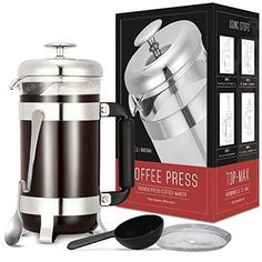 Coffee Press, TOP-MAX French Press Coffee Maker cup, 34 oz) With 4 Level Filtration System, 304 Grade Stainless Steel, Heat Resistant Borosilicate Glass Espresso Drinks, Espresso Coffee, Best Coffee, Espresso Machine Reviews, Best Espresso Machine, Coffee Review, Italian Espresso, Coffee Varieties, French Press Coffee Maker