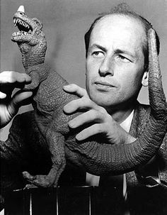 "Here you have animator Ray Harryhausen adjusting one of his Dinosaurs from "" ANIMAL WORLD "" ( 1956 ) a MASTER at his craft."