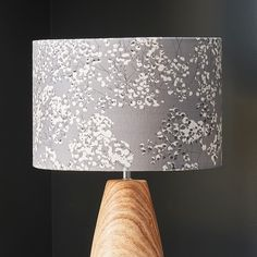 Floral grey lampshade from my Arla collection. Perfect for lounges, bedrooms and any home interior project Floral Lampshade, British Countryside, Lounges, Lampshades, Shades Of Grey, Lighting Design, Floral Design, Bedrooms, Wallpaper