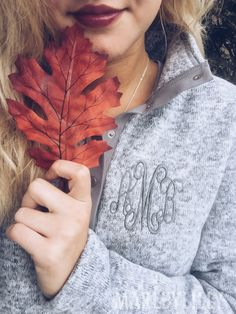 FALLing for Marleylilly's Heathered Tunic! This pullover will make you want to snuggle up in its incredible fleecy softness! #PreppyFallOutfit Get it HERE: https://marleylilly.com/product/monogrammed-heathered-fleece-pullover/