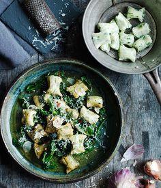 Australian Gourmet Traveller Italian recipe for gnudi with wilted bitter greens.