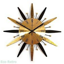 Vintage 1960's Atom Age Gold & Black Metal Retro Starburst Wall Clock