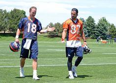 Pics Peyton Manning As Bronco   Broncos quarterback Peyton Manning plays prank on wide receiver Eric Decker