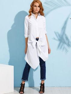 Shop White Knotted Front Long Blouse online. SheIn offers White Knotted Front Long Blouse & more to fit your fashionable needs.