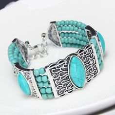 Women Fashion Vintage Bohemia Beads Bracelets Silver Carving Red Blue Turquoise Stone Oval Bracelets & Bangles brtj65