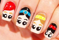 freehand disney princesses nails