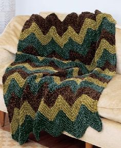 Image Knitted Ripple Afghan Pattern