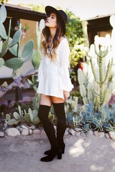 white dress with knee high socks
