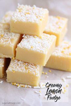 Creamy Lemon Fudge Recipe via @sugarsaltmagic