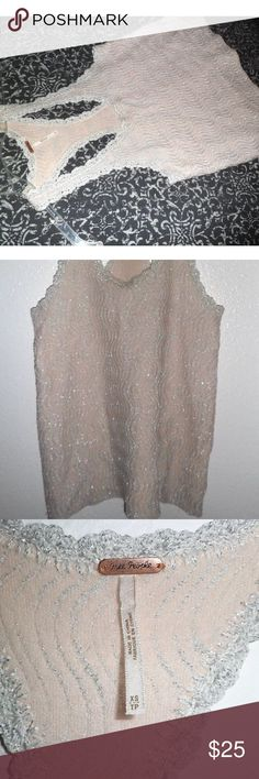 FREE PEOPLE Metallic Blush Oversized Tank Such a unique piece. Oversized tank that's Metallic silver and Blush Pink. Great for a night out! Cotton Wool blend. Scalloped pattern. Free People Tops Camisoles