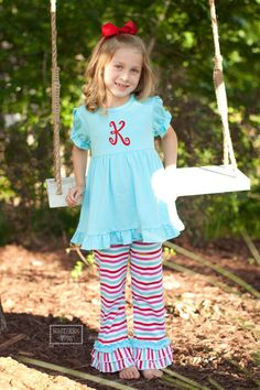 Pre Order ST Aqua and Multi Stripe Ruffle Knit Perfect Pants Set – Southern Tots