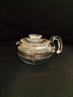 Pyrex Glass Flameware 6 Cup Teapot With Blue Tint Stovetop