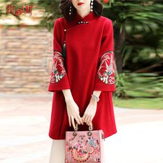 Han Clothing winter dress girl improvement tang style Chinese top retro Chinese wind women's autumn coat winter cheongsam coat - My Website 2020 Oriental Fashion, Asian Fashion, Chinese Clothing, Traditional Dresses, Chinese Dress Traditional, Ao Dai, Chinese Style, Winter Dresses, Autumn Coat