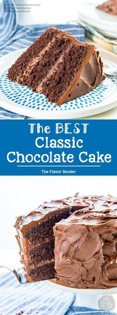 Classic Chocolate Cake is the only and best chocolate cake recipe you will ever need! It has layers of soft, airy chocolate cake layers, with a creamy, buttery, melt in your mouth Chocolate buttercream frosting. Easy No Bake Desserts, Easy Cake Recipes, Cupcake Recipes, Easy Desserts, Baking Recipes, Cupcake Cakes, Dessert Recipes, Cupcakes, Recipes Dinner