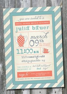 VINTAGE TEA POSTER Wedding Bridal Shower/Baby by PaperHeartCompany