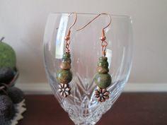 Handmade Unakite Dangle Earrings copper earrings by BeadLove14