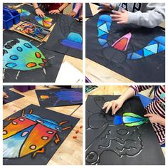 Lesson originally from Kunstunterricht There's nothing like the first day of COLOR. Lesson originally from Art Lessons For Kids, Art Lessons Elementary, Art For Kids, 3rd Grade Art Lesson, First Grade Art, Classe D'art, Ecole Art, Insect Art, School Art Projects