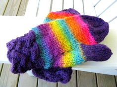 Fun And Funky Kaleidoscope Hand Knitted Wool Mittens Braided Cuff   Wyverndesigns - Knitting on ArtFire